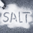 Salt spilled from shaker - Stock Photo