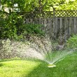 Lawn sprinkler watering grass — Stock fotografie