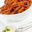 Sweet potato fries with sauce - Stock Photo