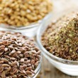 Brown and golden flax seed - Stok fotoğraf