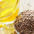 Brown flax seed and linseed oil — Foto Stock