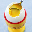 Soft boiled egg in cup — Stock Photo
