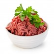 Bowl of raw ground meat — Stock Photo
