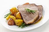 Roast beef and potatoes — Stock Photo