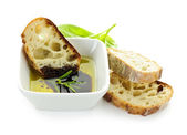 Bread olive oil and vinegar — Stock Photo