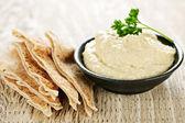 Hummus with pita bread — Stock Photo