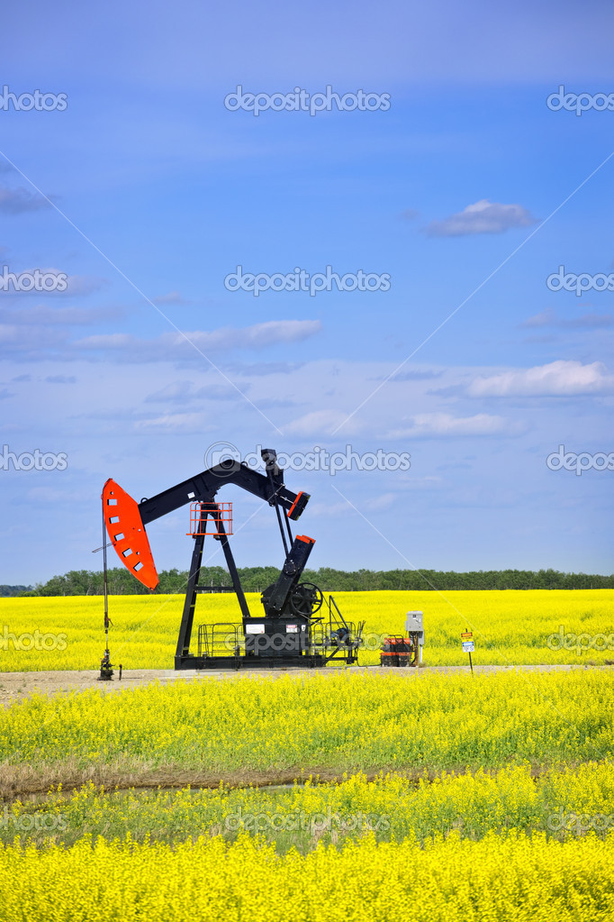 Oil pumpjack or nodding horse pumping unit in Saskatchewan prairies, Canada — Stock Photo #4465406