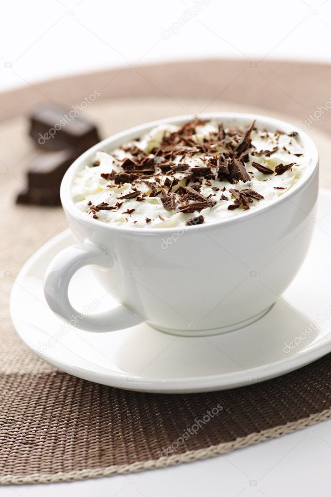 Cup of hot cocoa with shaved chocolate and whipped cream — Stock Photo #4466406