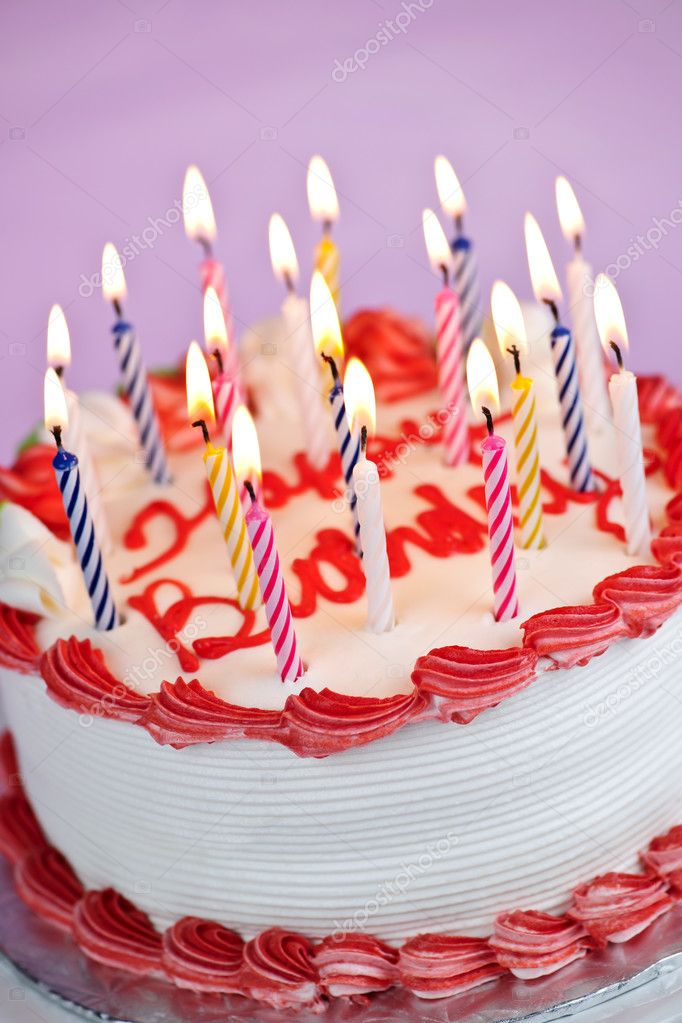 Birthday cake with lit candles   Stock Photo ...