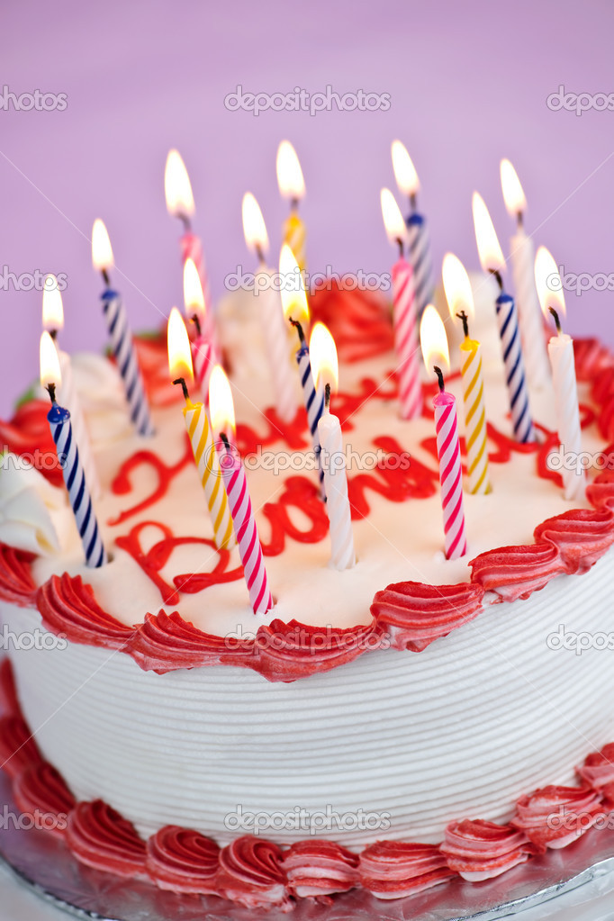 Birthday Cake With Lit Candles Images : Birthday cake with lit candles   Stock Photo ...