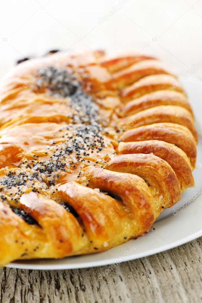 Closeup of poppy seed strudel dessert pastry — Stock Photo #4467028