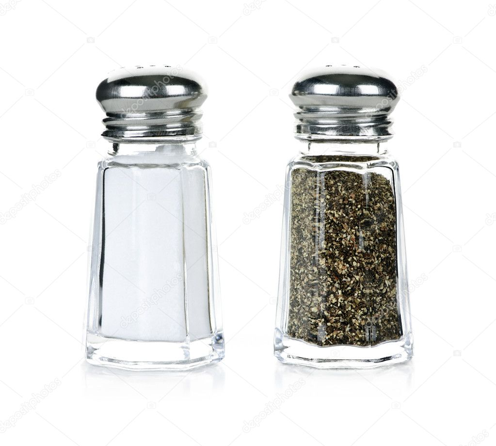 Glass salt and pepper shakers isolated on white background  Stock Photo #4467127