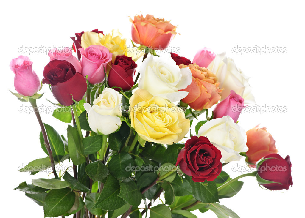 Bouquet of assorted multicolored  roses isolated on white background — Stock Photo #4467129