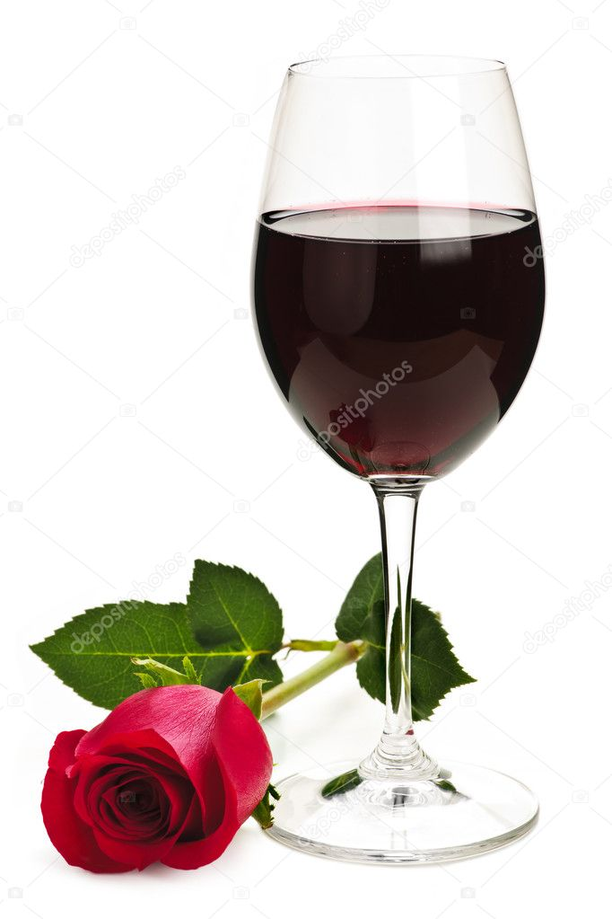 Romantic glass of red wine with long stemmed rose isolated on white background — Stock Photo #4468238