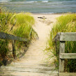 Wooden stairs over dunes at beach — Stock Photo