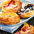 Stock Photo: Plate of fruit danishes