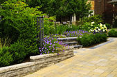 Landscaped garden and stone paved driveway — Стоковое фото
