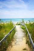 Wooden walkway over dunes at beach — Stockfoto