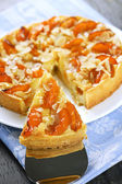 Slice of apricot and almond pie — Stock Photo