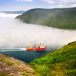 Ship entering the Narrows of St John's - Stock Photo