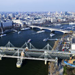 Hungerford Bridge seen from London Eye - Stock Photo
