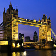 图库照片: Tower bridge in London at night