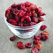 Bowl of dried cranberries — Stock Photo #4483363