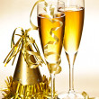 Champagne and New Years party decorations — Stock Photo