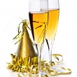 Stock Photo: Champagne and New Years decorations