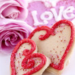 Valentines cookies and roses - Stock Photo