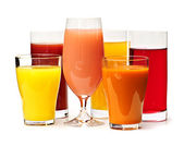 Glasses of various juices — Stock Photo