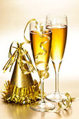 Champagne and New Years party decorations — Stok fotoğraf
