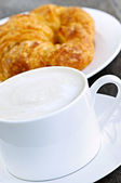 Latte coffee and croissant — Stock Photo
