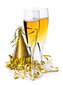 Champagne and New Years decorations — Stock Photo