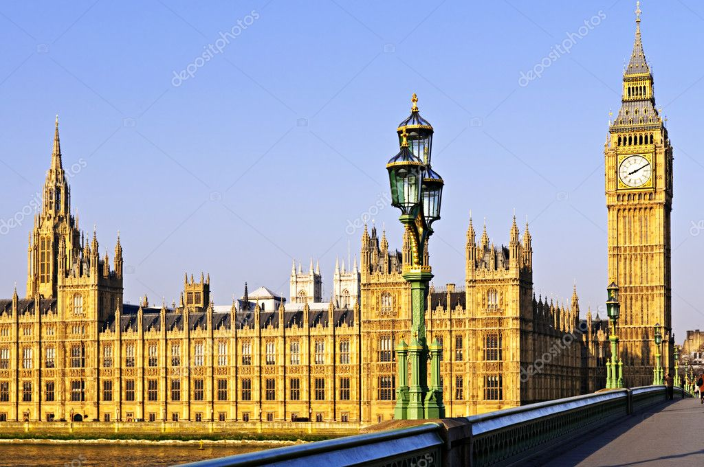 Houses of Parliament with Big Ben in London from Westminster Bridge — Stock Photo #4482925
