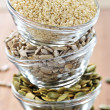 Stock Photo: Stacked bowls of seeds