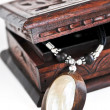 Wooden jewelry box — Stock Photo