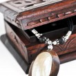 Wooden jewelry box — Stock fotografie
