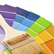Foto Stock: Paint brush with color cards