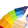 paint brush with color cards — Stock Photo