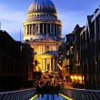 St. Paul's Cathedral from Millennium Bridge in London at night — Stock Photo #4494578