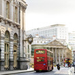 London street with view of Royal Exchange building - Stock Photo
