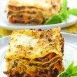 Plates of lasagna - Stock Photo