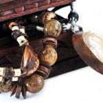 dřevěná šperkovnice — Stock fotografie