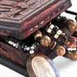Wooden jewelry box - Stock Photo