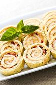 Mini sandwich spiral roll appetizers — Stock Photo