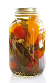Jar of pickled vegetables — Stock Photo