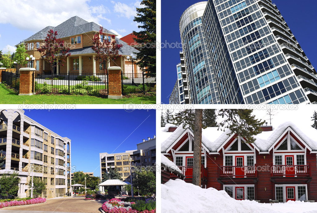 Collage of different types of real estate — Stock Photo #4494091