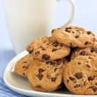 Milk and chocolate chip cookies — Stock Photo #4518468