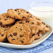 Milk and chocolate chip cookies — Stock Photo #4518469